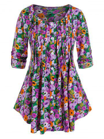 Plus Size Flower Pleated Buttoned Tab Sleeve Curved Blouse