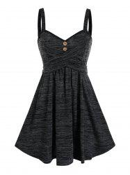 Space Dye Button Crisscross Mini Cami Dress -