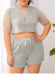 Plus Size Fishnet Insert Pajama Shorts Set -
