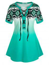 Plus Size Geometric Print Lace-up Ombre Cuffed Sleeve Tee -