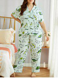 Plus Size Cartoon Animals Print PJ Set -