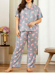 Plus Size Cartoon Cat Print PJ Set -