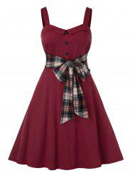 Plus Size Plaid Bowknot Backless High Rise Dress -