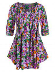 Plus Size Flower Pleated Buttoned Tab Sleeve Curved Blouse -