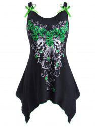 Rose Skull Paint Splatter Bowknot Handkerchief Halloween Plus Size Tank Top -