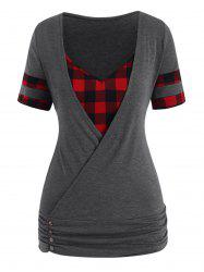 Plus Size Plaid Insert Blouson T Shirt -