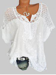 Plus Size Hollow Out Flower Embroidered Blouse -