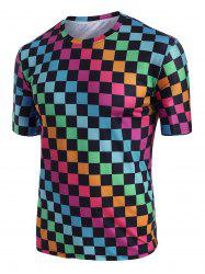 Colorblock Checkered Print Short Sleeve T-shirt -