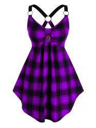 Plus Size Plaid Cross O-ring Linked Cutout Curved Tank Top -