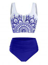Flower Print V Notched Padded Tankini Swimwear -