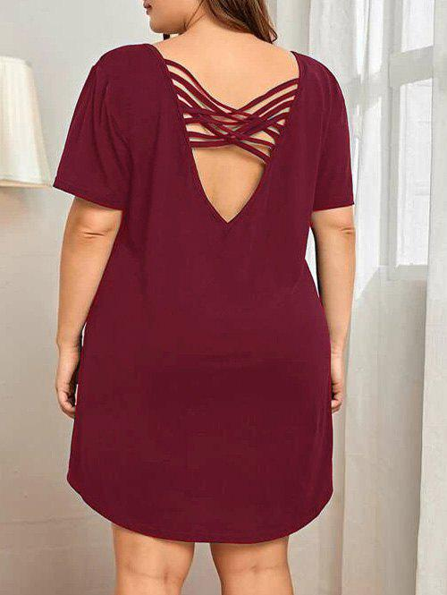 Plus Size Criss Cross Plunging Back Pajama Dress фото