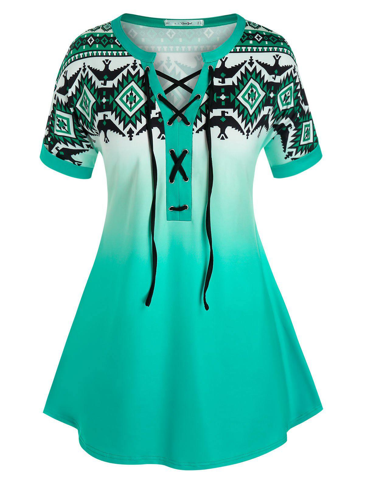 Plus Size Geometric Print Lace-up Ombre Cuffed Sleeve Tee фото