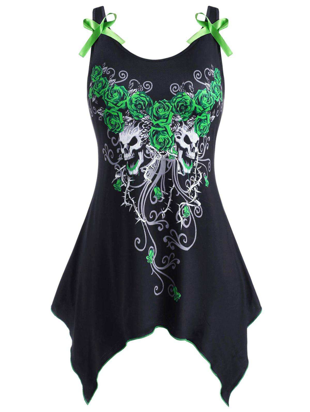 New Rose Skull Paint Splatter Bowknot Handkerchief Halloween Plus Size Tank Top