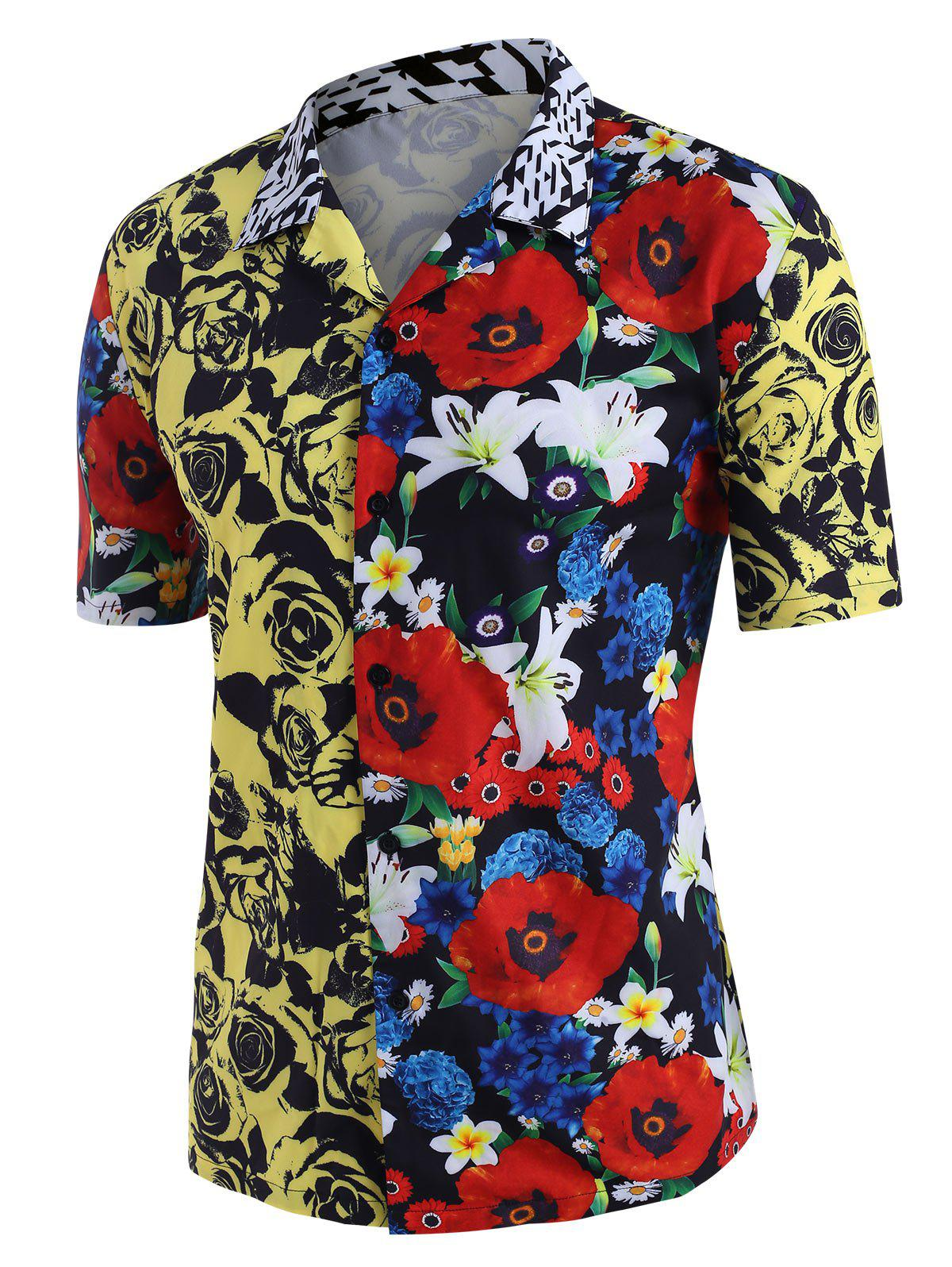 Buy Contrast Rose Flower Print Beach Shirt
