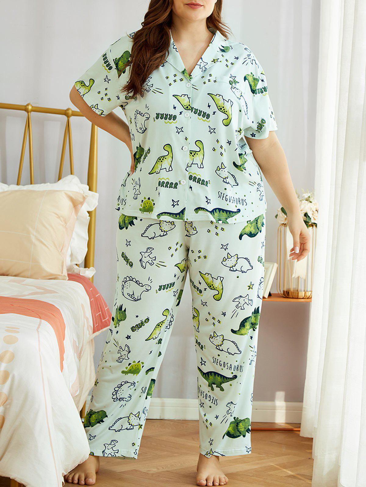 Unique Plus Size Cartoon Animals Print PJ Set