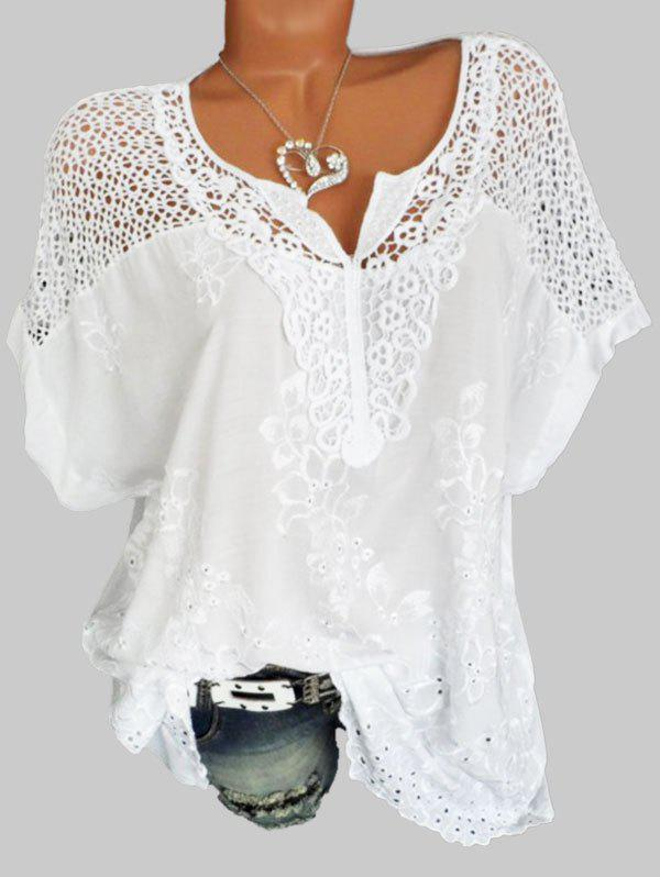 Outfits Plus Size Hollow Out Flower Embroidered Blouse