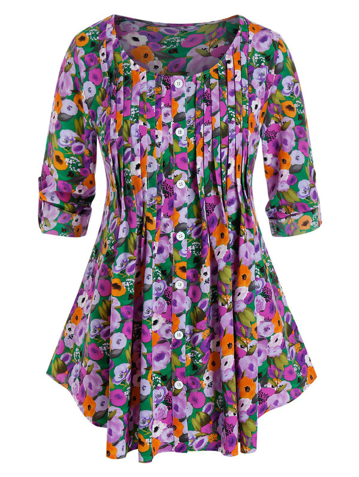 Discount Plus Size Flower Pleated Buttoned Tab Sleeve Curved Blouse