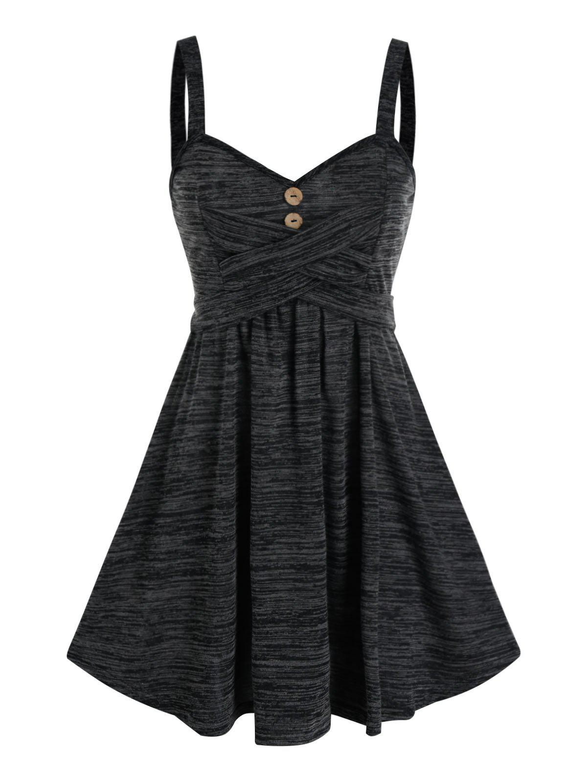 Cheap Space Dye Button Crisscross Mini Cami Dress