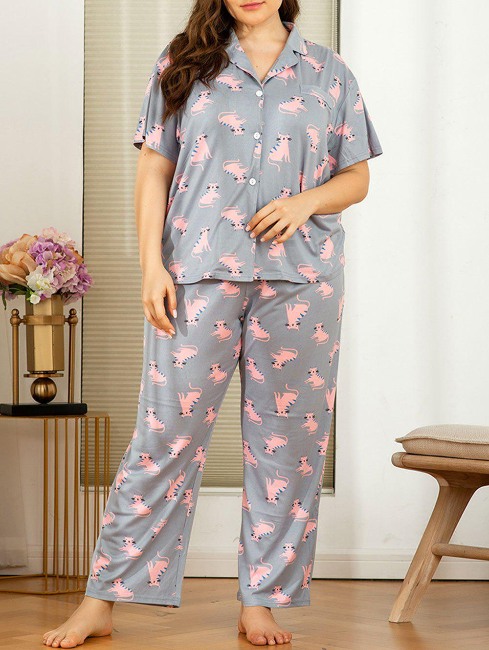 New Plus Size Cartoon Cat Print PJ Set