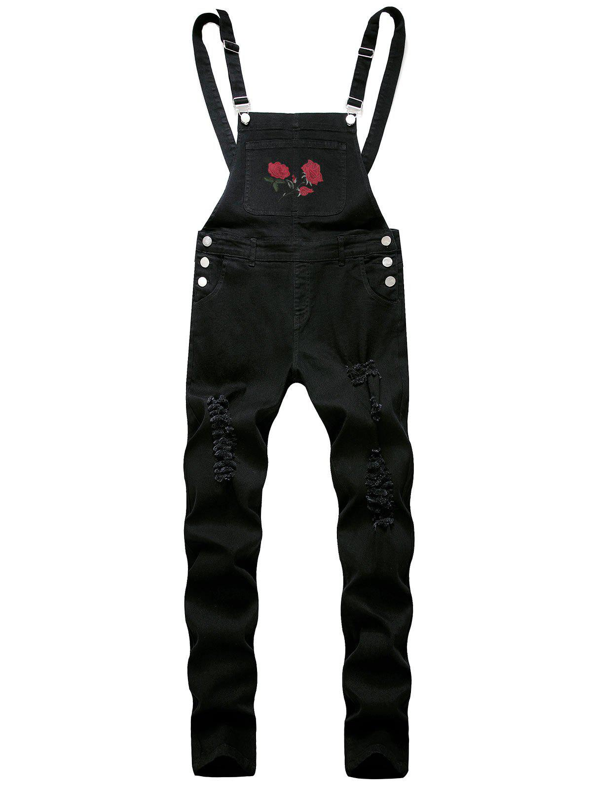 Hot Ripped Flower Embroidered Tapered Overall Jeans