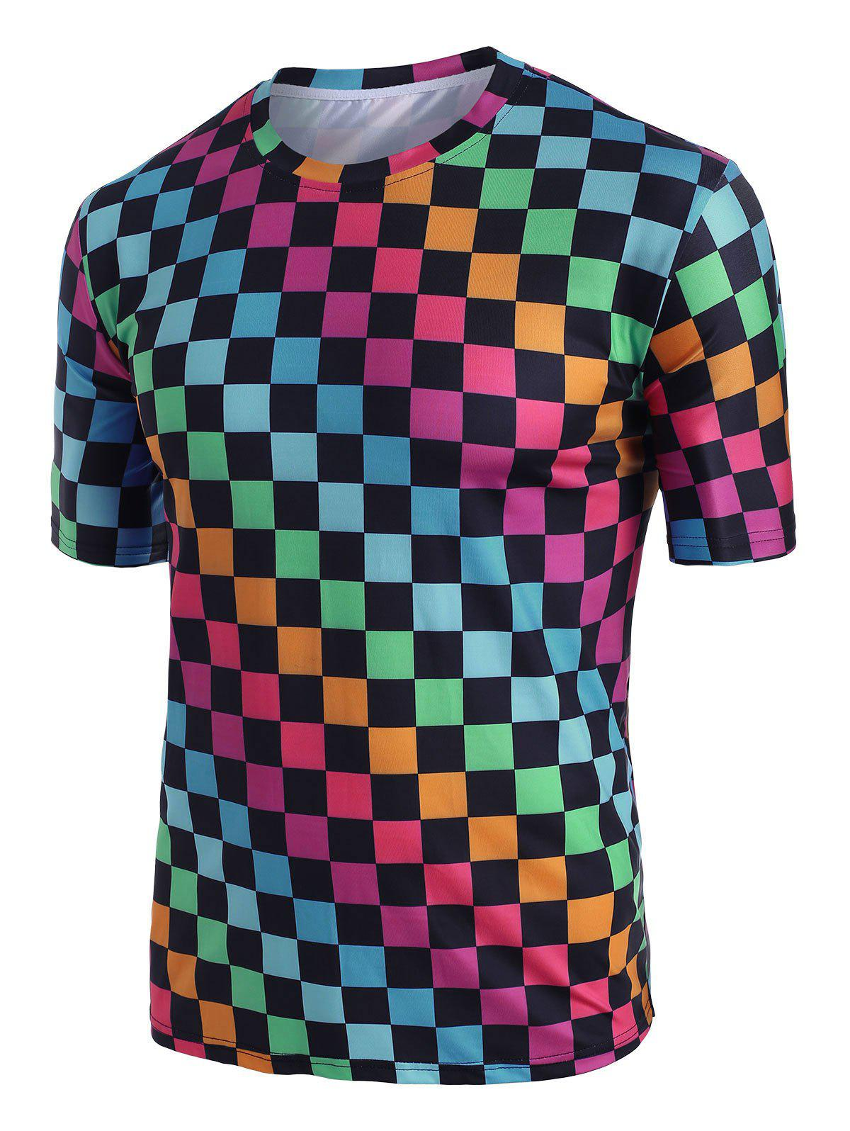 Fancy Colorblock Checkered Print Short Sleeve T-shirt