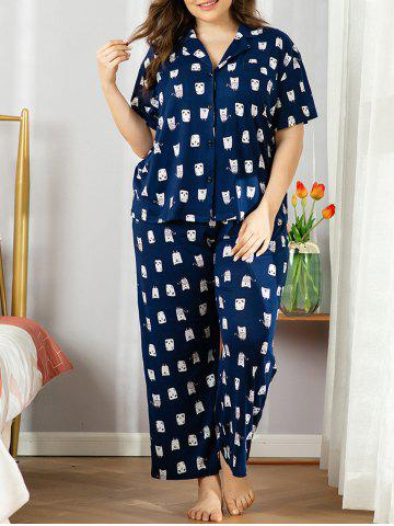 Plus Size Cartoon Print Pyjama Set - DEEP BLUE - 1XL