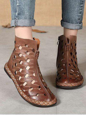 Hollow Out Leather Ankle Flat Boots - COFFEE - EU 38