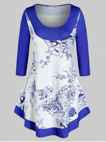 Plus Size Printed Curved Casual Tunic Tee