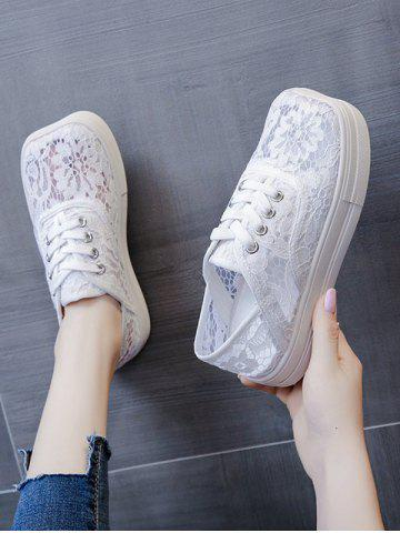 Floral Lace Mesh Lace Up Sports Shoes