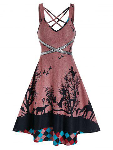 Crisscross Sequins Tree Print Cami A Line Dress