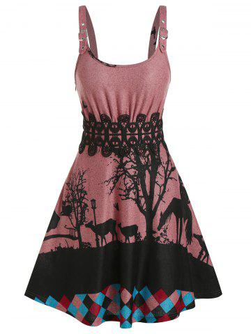 Sleeveless Animals Print Lace Panel Gothic Sweater Dress - BEAN RED - M
