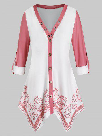 Plus Size Button Up Roll Up Sleeves Handkerchief Blouse - PIG PINK - 1X