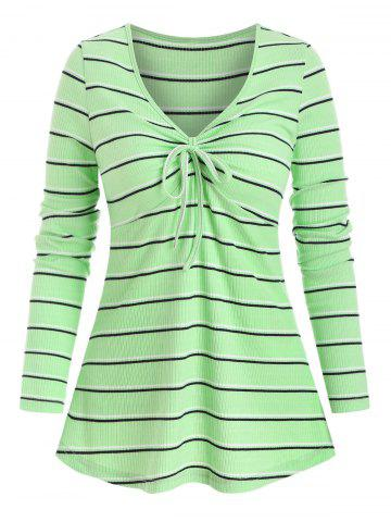 Bowknot Detail Striped Pattern Ribbed T-shirt