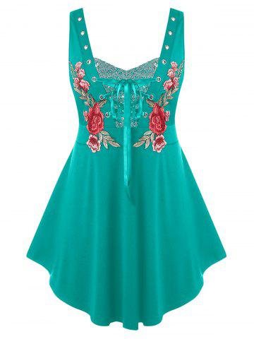 Plus Size Embroidered Lace Up Sequin Tank Top - MEDIUM TURQUOISE - 4X