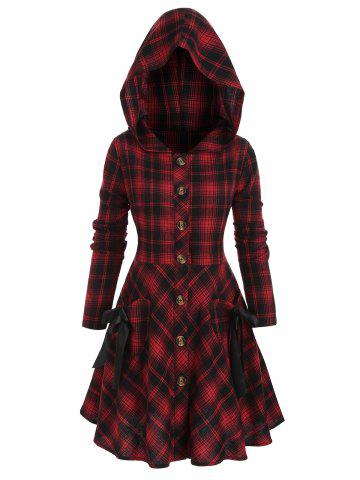 Plus Size Plaid Flannel Tie Pocket Skirted Hooded Coat