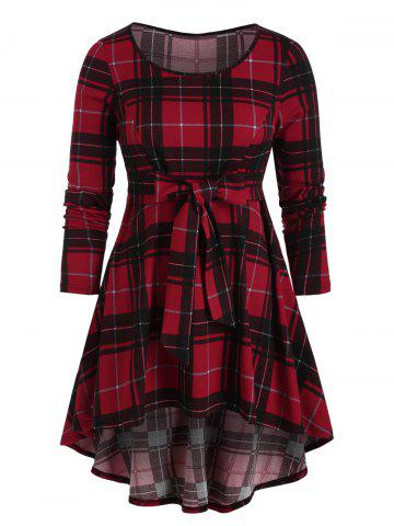 Plus Size Check Print High Low T-shirt - RED WINE - 5X