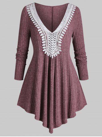 Plus Size Ribbed Contrast Lace Asymmetric Knitwear - RED WINE - 3X
