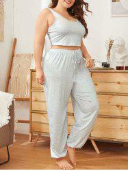 Plus Size Printed Tie PJ Set -