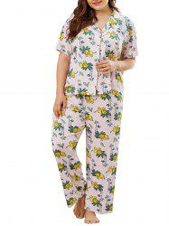 Plus Size Plant Lion Print PJ Set -