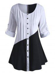 Plus Size Colorblock Roll Up Sleeve Blouse -