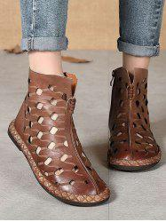 Hollow Out Leather Ankle Flat Boots -