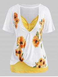 Plus Size Cutout Sunflower Print Tee and Tank Top Set -