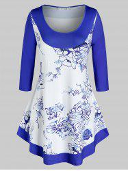 Plus Size Printed Curved Casual Tunic Tee -