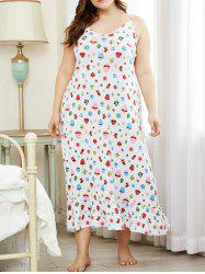 Plus Size Cartoon Leaf Mushroom Print Flounce Nightdress -