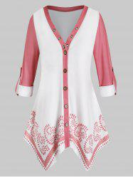 Plus Size Button Up Roll Up Sleeves Handkerchief Blouse -