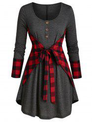 Plus Size Plaid Knotted Curved Long Sleeve Tunic Tee -