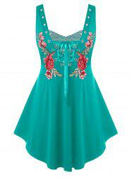 Plus Size Embroidered Lace Up Sequin Tank Top -
