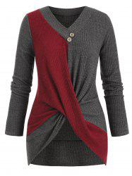 Plus Size Bicolor Two Tone Twisted Ribbed Sweater -