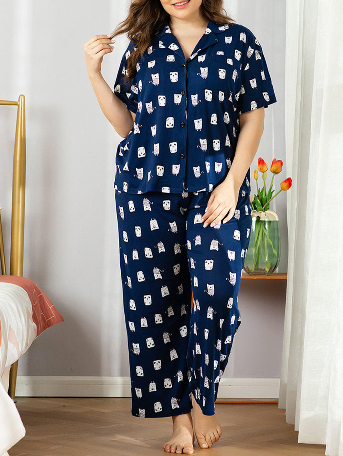 New Plus Size Cartoon Print Pyjama Set