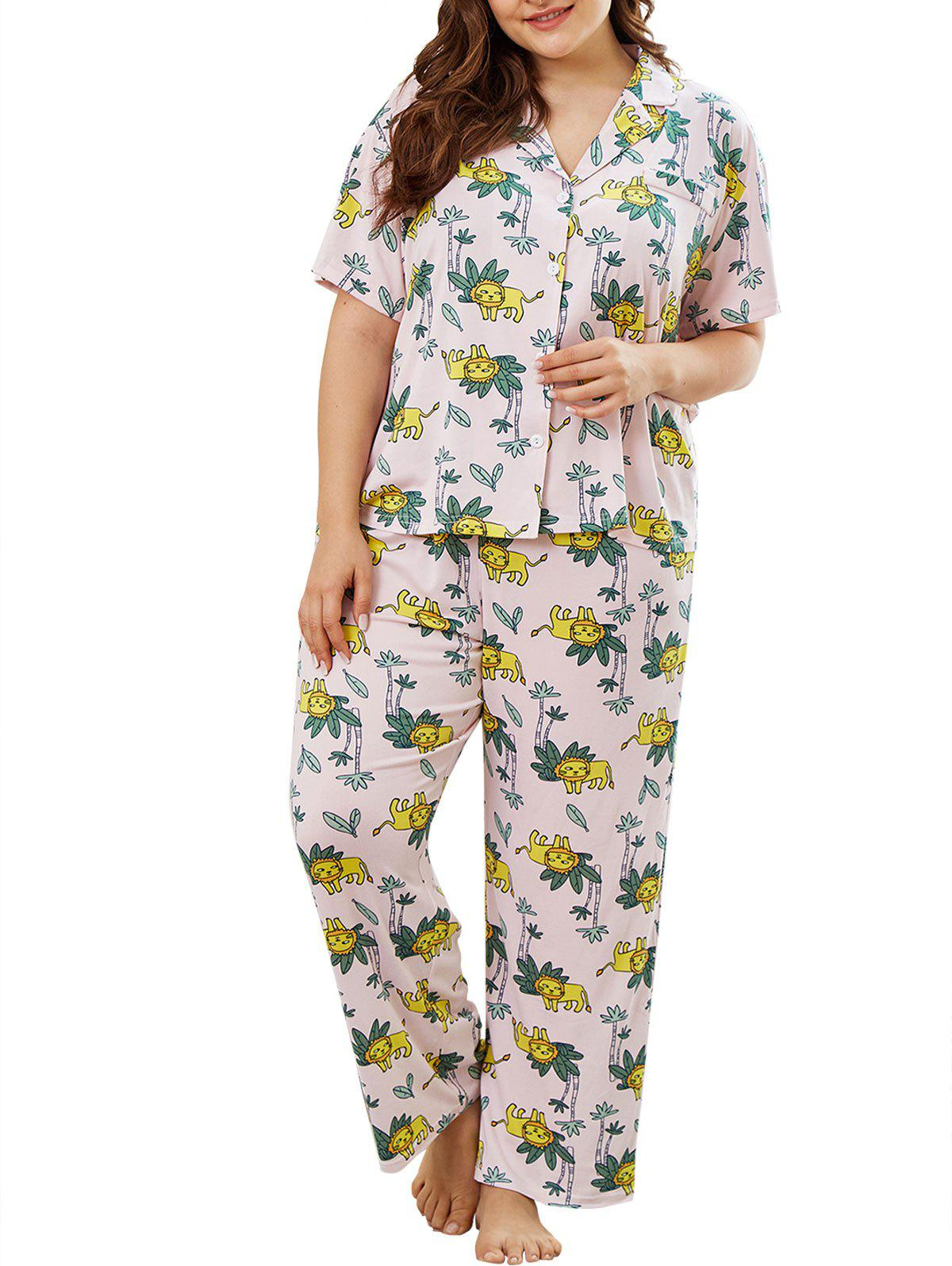Sale Plus Size Plant Lion Print PJ Set